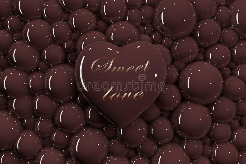 3D在巧克力泡影背景的心脏与题字'美好的爱的' 库存例证