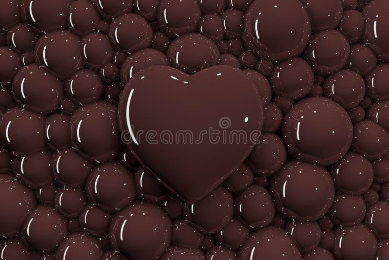 3D在巧克力泡影背景的心脏  库存例证