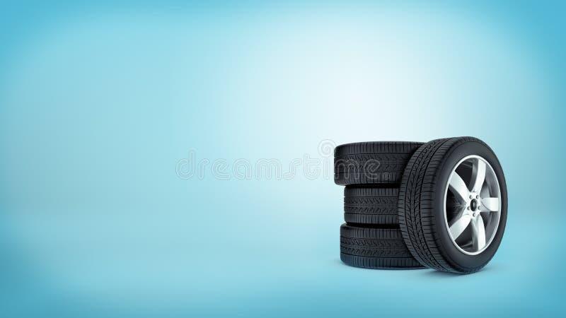 3d在彼此堆积的倾斜在他们的三个车胎和一个轮胎的翻译在蓝色背景 库存例证