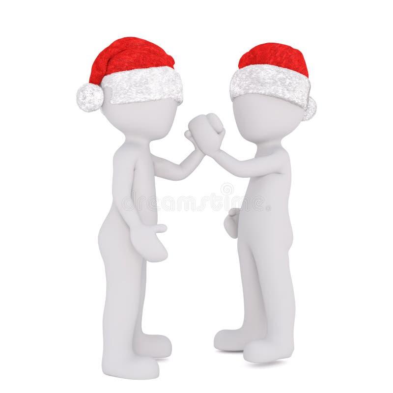 3d在扣紧在友谊的圣诞老人帽子的toons手 向量例证