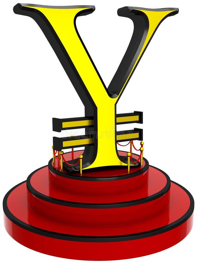 3D在指挥台的日元标志 皇族释放例证