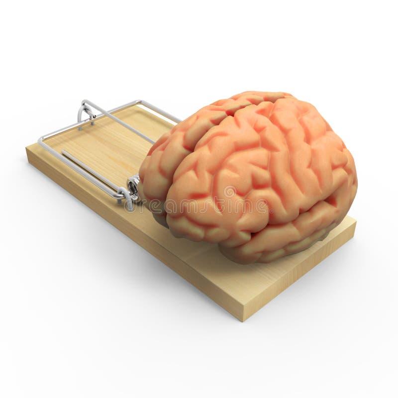 3d在捕鼠器的脑子 向量例证
