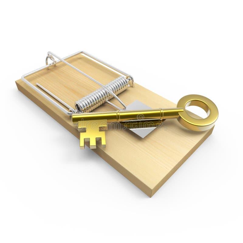 3d在捕鼠器的金子钥匙 库存例证