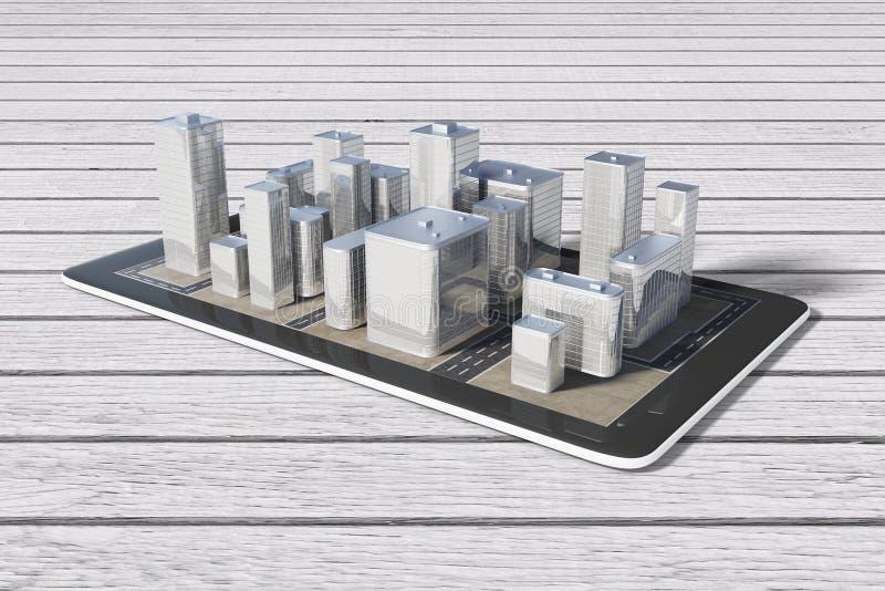 3D在数字式片剂的城市大厦在木桌上 向量例证