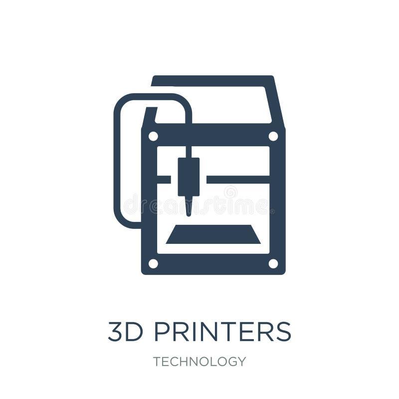 3d在时髦设计样式的打印机图标 3d在白色背景隔绝的打印机图标 3d打印机现代传染媒介的象简单和 向量例证
