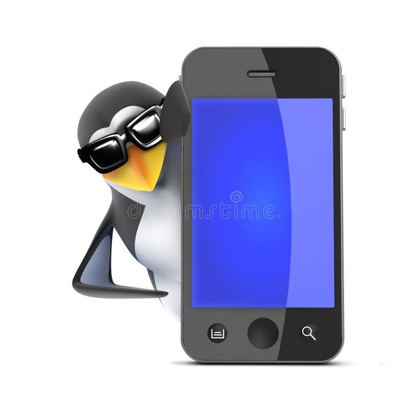 3d在智能手机后的企鹅 皇族释放例证