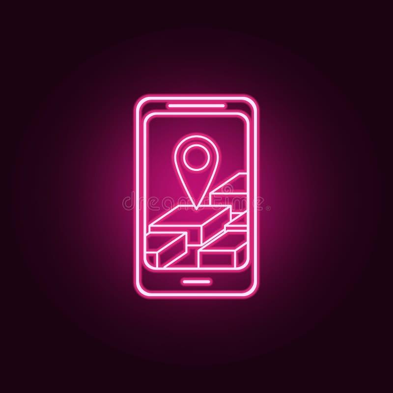 3d在智能手机霓虹象的导航员 航海集合的元素 r 向量例证