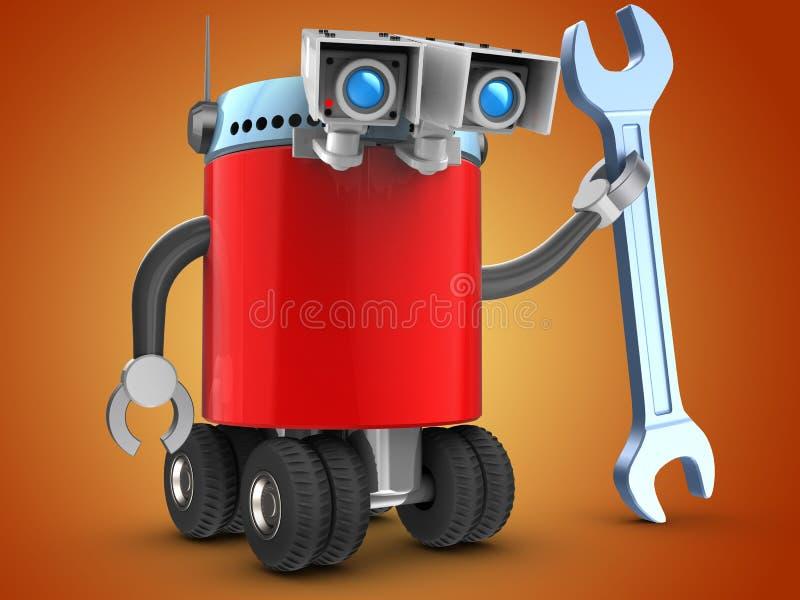3d在桔子的机器人 皇族释放例证