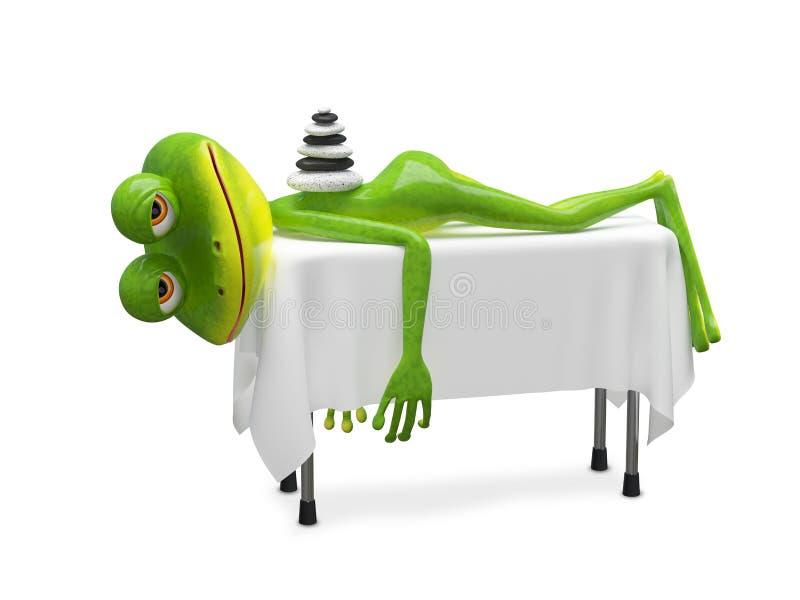 3D在温泉做法的例证青蛙 库存例证