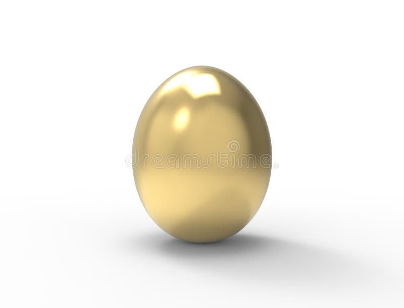 3D在演播室背景中隔绝的一个金黄鸡蛋的翻译 向量例证