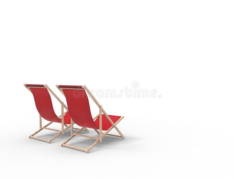 3D在演播室背景中隔绝的海滩睡椅的翻译 向量例证