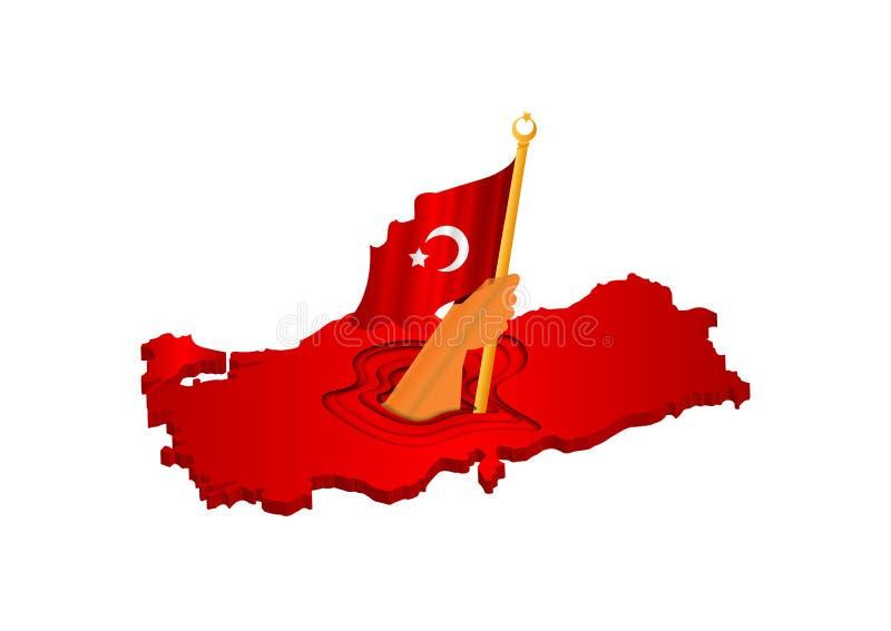 3D在火鸡3D地图的月亮和星象图回报,挥动的旗子火鸡,土耳其旗子,eps 10传染媒介例证 皇族释放例证