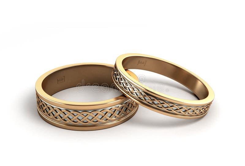 3d在白色使金子婚戒被刻记 皇族释放例证