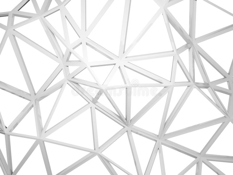 3d在白色有混乱形状的架线的建筑隔绝的 向量例证