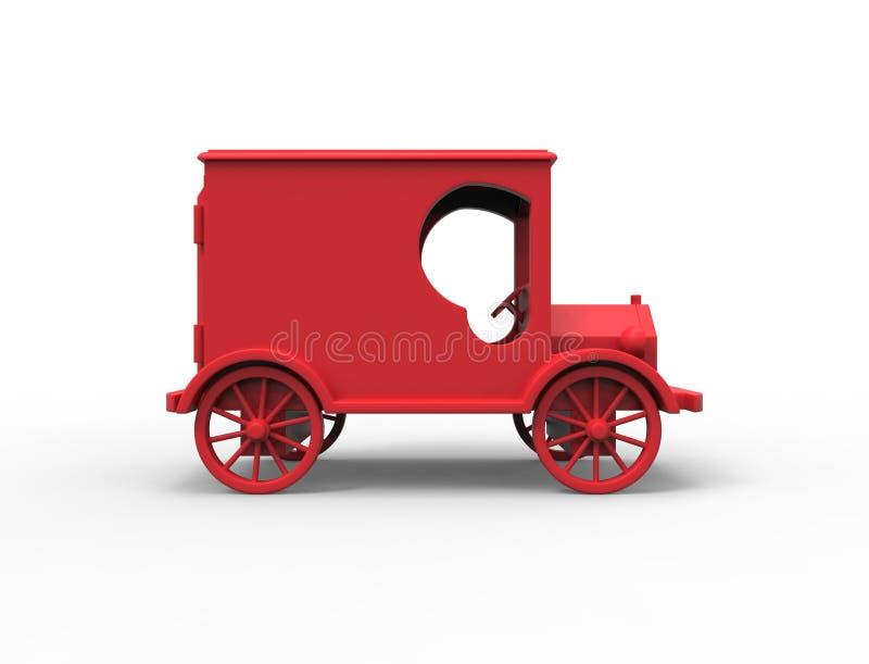 3D在白色演播室背景中隔绝的一辆红色经典葡萄酒减速火箭的玩具邮车的翻译例证 皇族释放例证