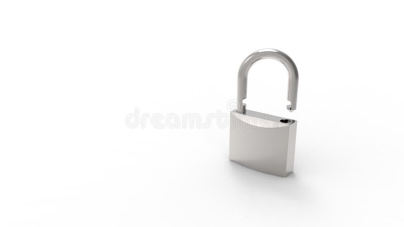 3d在白色演播室背景中隔绝的灰色挂锁的翻译 向量例证