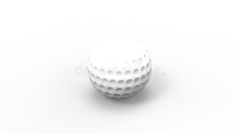 3d在白色演播室背景中隔绝的白色高尔夫球的翻译 皇族释放例证