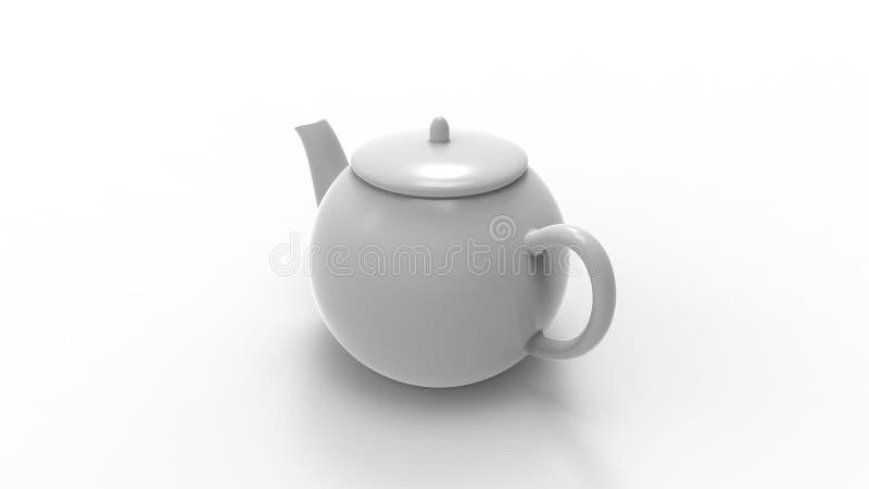 3d在白色演播室背景中隔绝的茶罐的翻译 库存例证