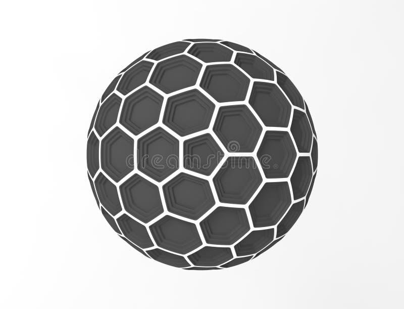 3d在白色演播室背景中隔绝的蜂窝球形圆顶的翻译 库存例证