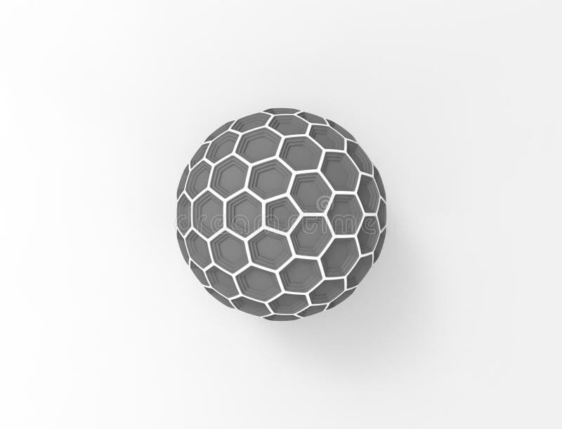 3d在白色演播室背景中隔绝的蜂窝球形圆顶的翻译 皇族释放例证