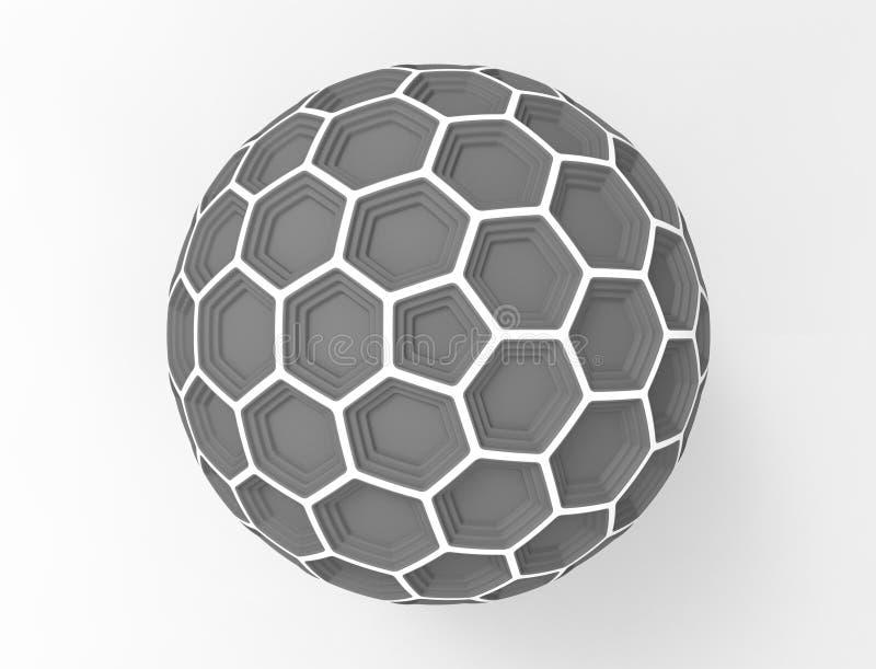 3d在白色演播室背景中隔绝的蜂窝球形圆顶的翻译 向量例证