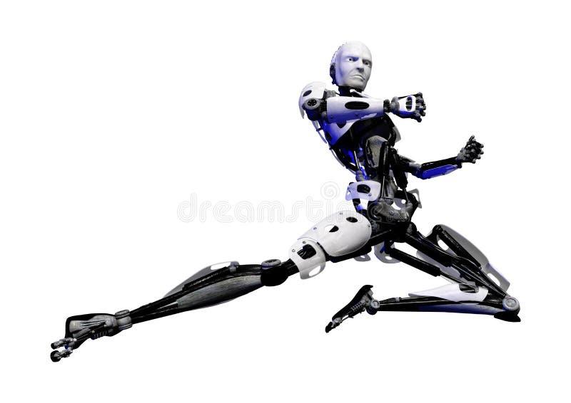3D在白色的翻译男性机器人 库存例证