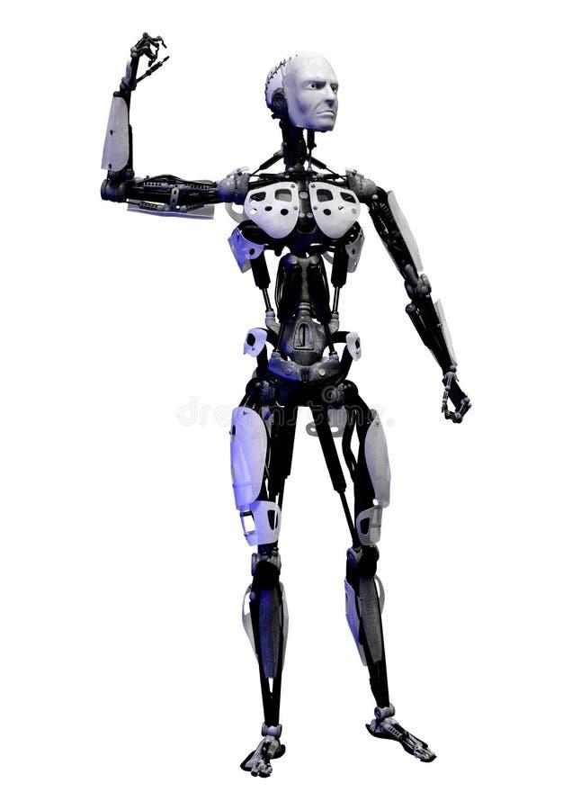 3D在白色的翻译男性机器人 向量例证