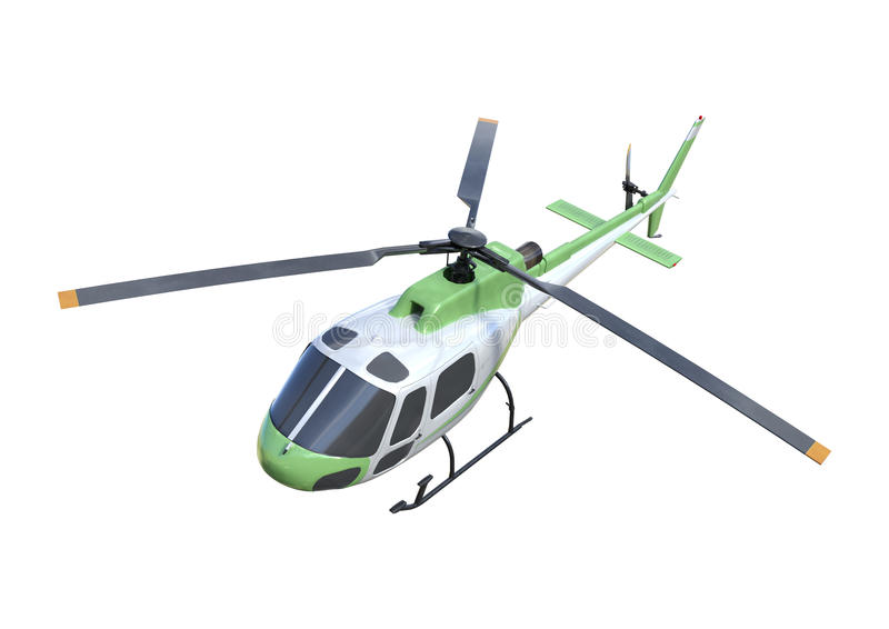 3D在白色的翻译直升机 免版税库存图片