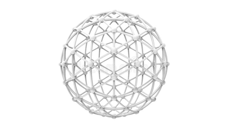 3d在白色背景中隔绝的一大地测量学的phere wireframe的翻译 库存例证