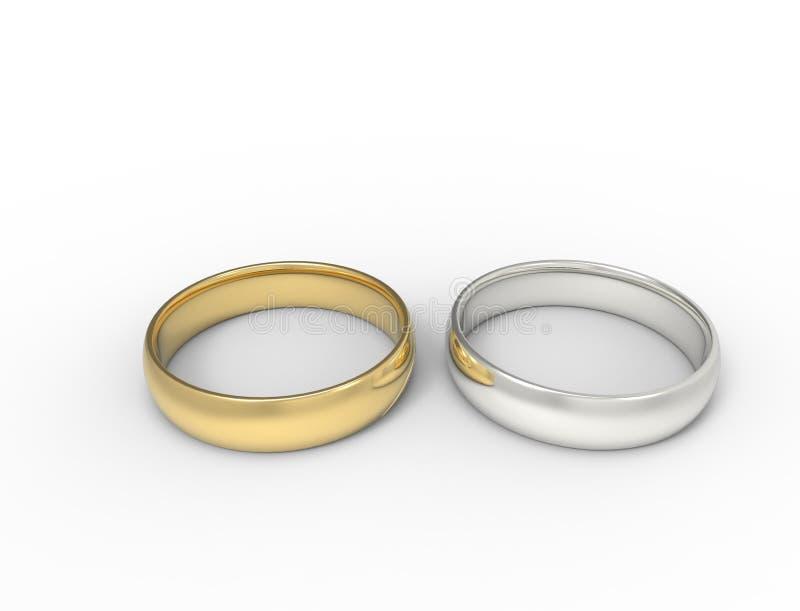 3D在白色背景中隔绝的两个圆环翻译  向量例证