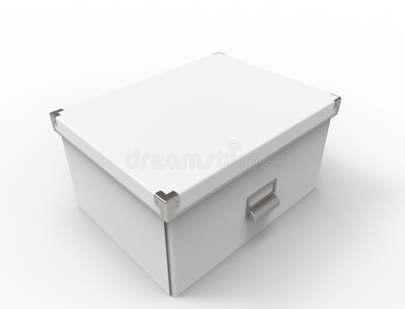 3d在白色背景中隔绝的储藏盒的翻译 皇族释放例证