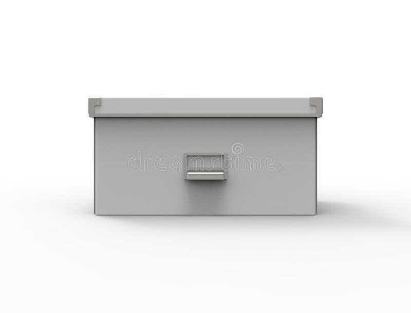 3d在白色背景中隔绝的储藏盒的翻译 库存例证
