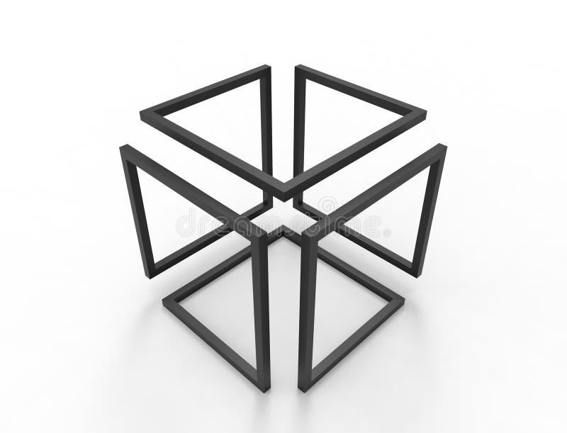 3d在白色背景中隔绝的无限立方体的翻译 向量例证