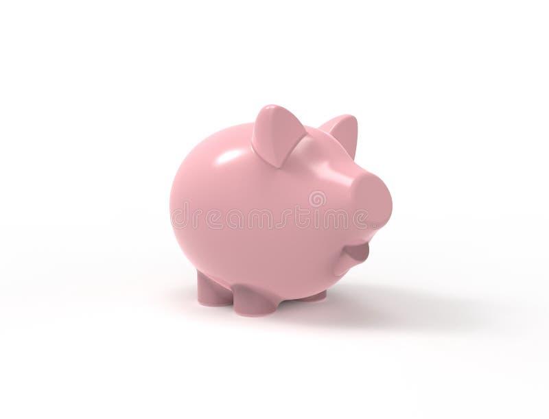 3D在白色背景中隔绝的桃红色存钱罐的翻译 向量例证