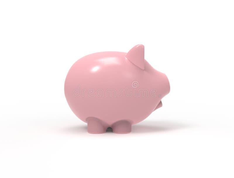 3D在白色背景中隔绝的桃红色存钱罐的翻译 库存例证
