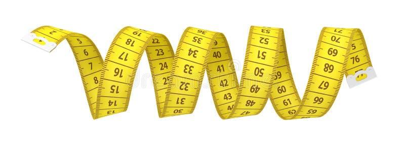 3d在白色背景以螺旋的形式隔绝的一卷黄色测量的磁带的翻译 向量例证