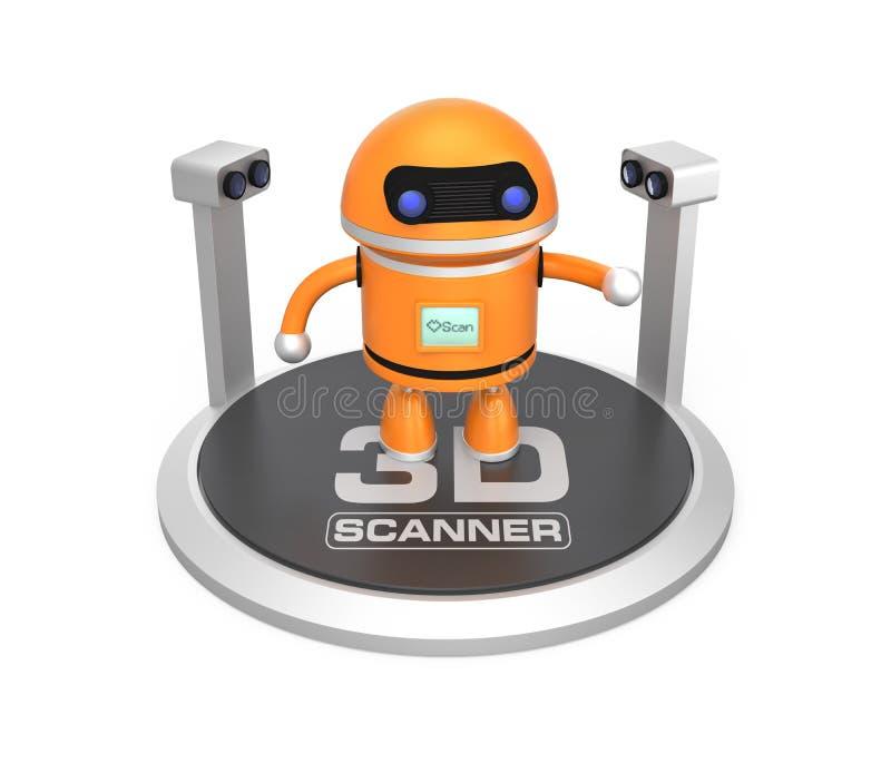 3D在白色背景和机器人隔绝的扫描器 向量例证