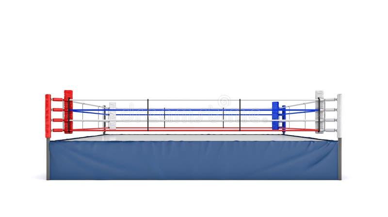 3d在白色背景在正面图的隔绝的一座空的拳击台的翻译 库存例证
