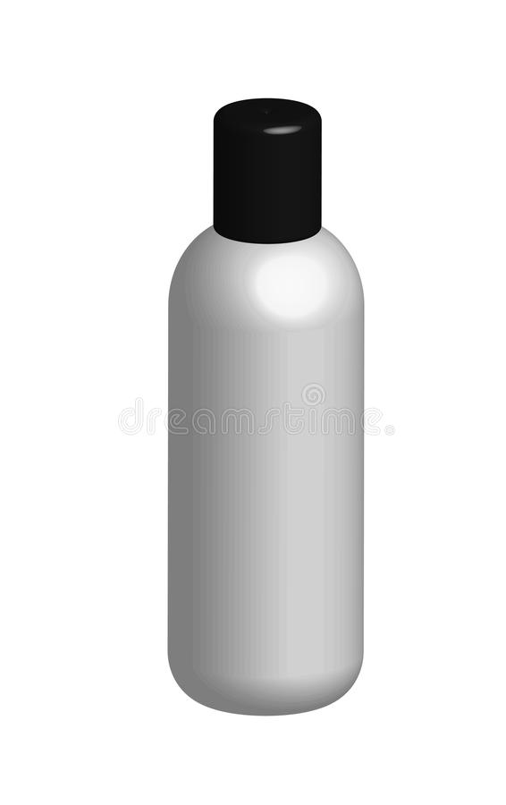 3d在白色背景的瓶 3d白色塑料瓶 库存例证