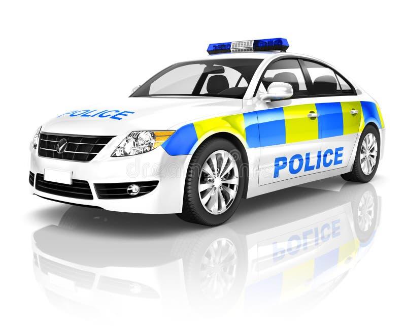 3D在白色背景的警车 皇族释放例证
