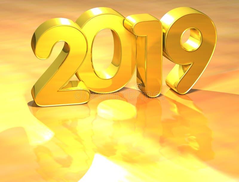 3d在白色背景的金子新年2019年.