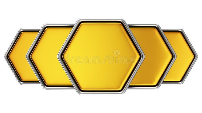 五金黄六角形 皇族释放例证