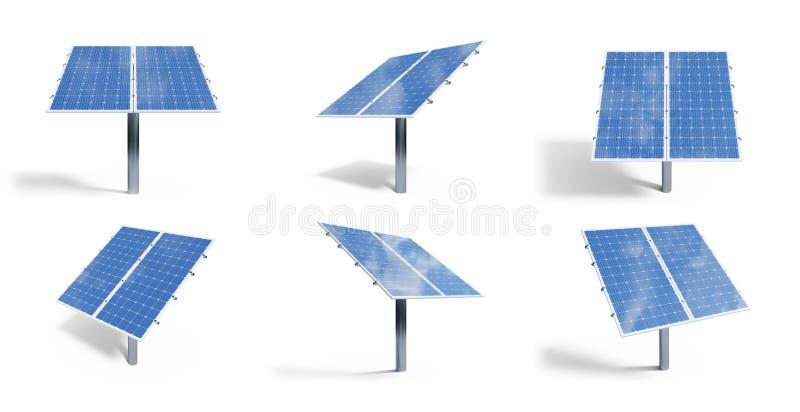 3D在白色背景隔绝的例证太阳电池板 与反射美丽的天空蔚蓝的集合太阳电池板 ?? 库存例证