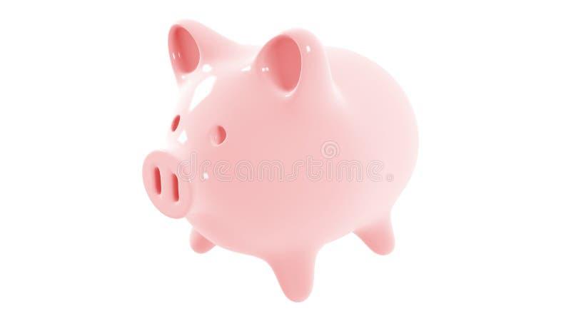 3d在白色背景隔绝的桃红色陶瓷存钱罐的翻译 库存例证