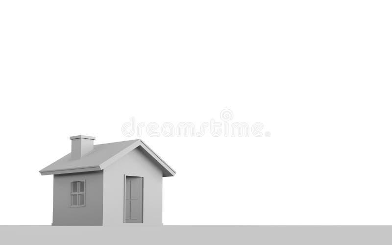 3D在白色背景隔绝的简单的房子翻译 向量例证