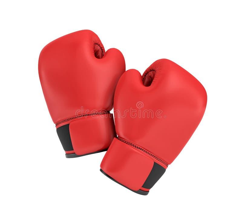 3d在白色背景隔绝的红色正确的拳击手套的翻译 向量例证
