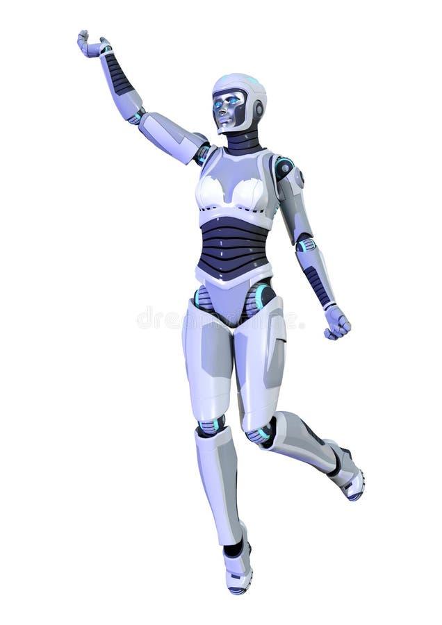 3D在白色背景隔绝的翻译女性机器人 向量例证