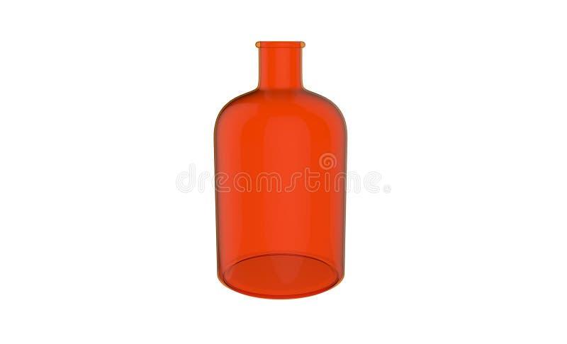 3d在白色背景隔绝的装饰红色玻璃瓶的例证 皇族释放例证