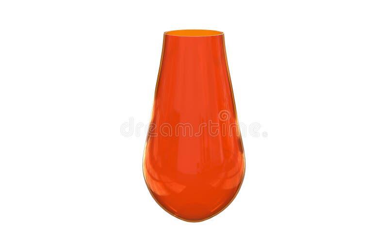 3d在白色背景隔绝的装饰红色玻璃花瓶的例证 库存例证