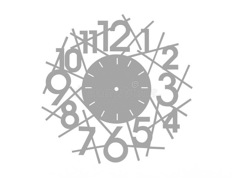 3d在白色背景隔绝的设计时钟的翻译 库存例证